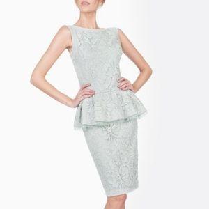 Tadashi Shoji Mint Scroll Lace Peplum Dress Sz 8